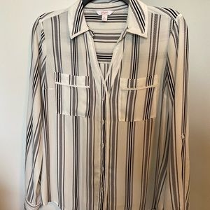 striped design long sleeved business casual shirt